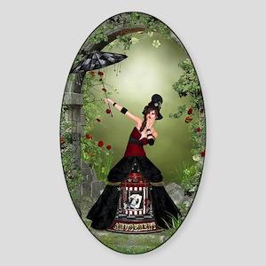 amus_84_curtains_835_H_F Sticker (Oval)