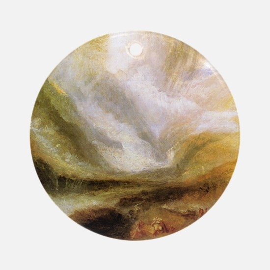 William Turner snowstorm and avalan Round Ornament