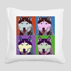 Husky Pop Art Square Canvas Pillow