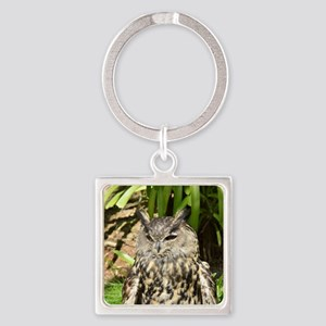Eurasian Eagle Owl Square Keychain