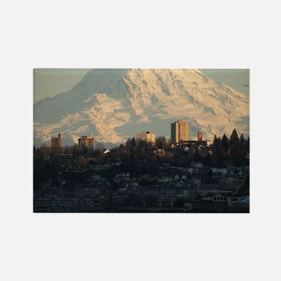 Mt. Rainier with city Rectangle Magnet