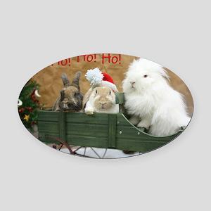 Bunny Trio Christmas Oval Car Magnet