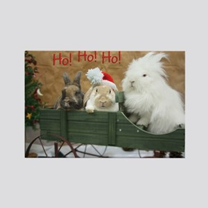 Bunny Trio Christmas Rectangle Magnet