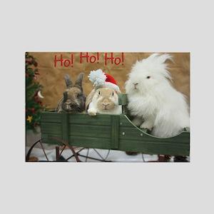 Bunny Trio Christmas Rectangle Magnet