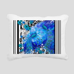 Peacock Blue Garden Stri Rectangular Canvas Pillow