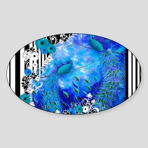 Peacock Blue Garden Stripe Case Sticker (Oval)