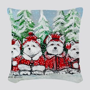 Christmas Westies Woven Throw Pillow