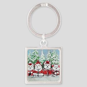 Christmas Westies Square Keychain