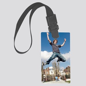 Youth leaping Large Luggage Tag