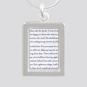 Aleph Hebrew letter with Silver Portrait Necklace