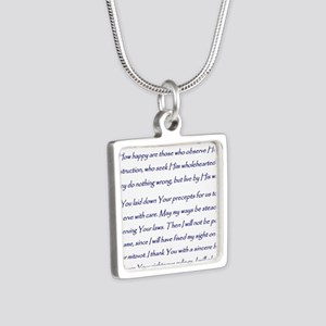 Aleph Hebrew letter with P Silver Square Necklace