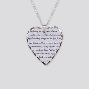Aleph Hebrew letter with Psal Necklace Heart Charm