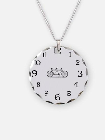 Tandem Bike Clock Necklace