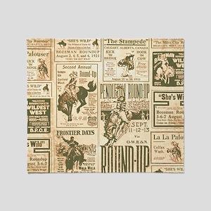 Vintage Rodeo Round-Up Throw Blanket