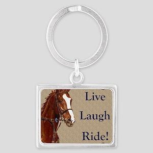 Live! Laugh! Ride! Horse Landscape Keychain