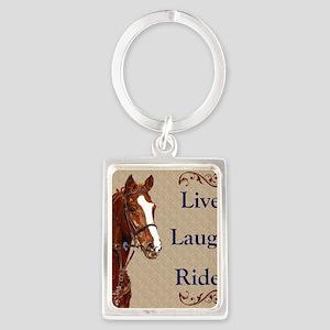 Live! Laugh! Ride! Horse Portrait Keychain