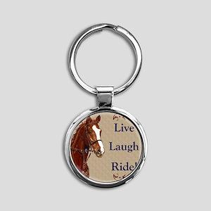 Live! Laugh! Ride! Horse Round Keychain