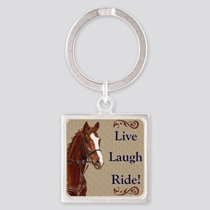 Live! Laugh! Ride! Horse Square Keychain