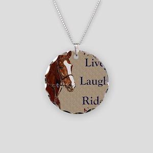 Live! Laugh! Ride! Horse Necklace Circle Charm