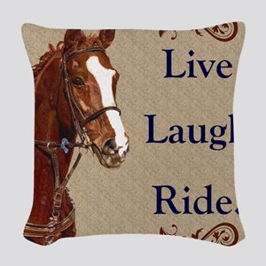 Live! Laugh! Ride! Horse Woven Throw Pillow