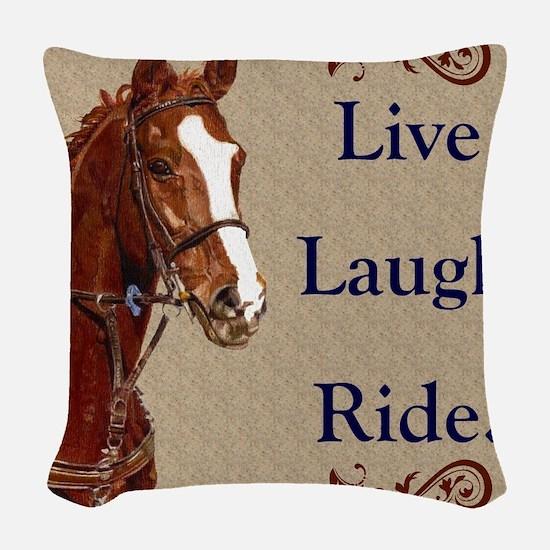 Live! Laugh! Ride! Horse Woven Throw Pillow