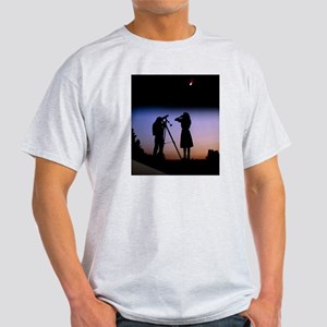 Young people observe a bright comet Light T-Shirt