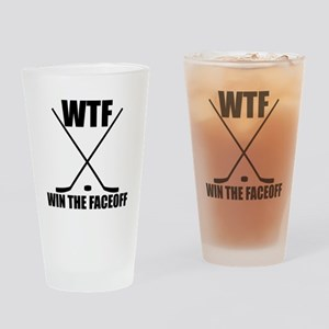 WTF Win The Faceoff Drinking Glass