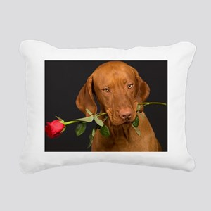 Valentines Dog Rectangular Canvas Pillow