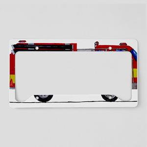 Fire Truck Framed Print License Plate Holder