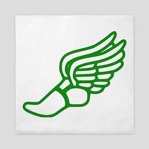 Green Running Shoe With Wings Queen Duvet