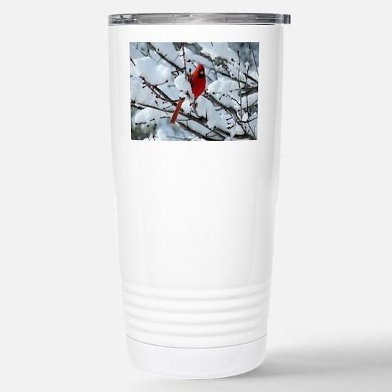 Snow Cardinal Stainless Steel Travel Mug