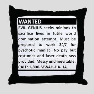 Evil Genius Advert Throw Pillow