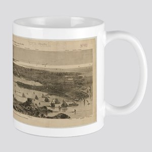 Vintage Pictorial Map of Newport RI (1873) Mugs