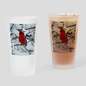 Snow Cardinal Drinking Glass