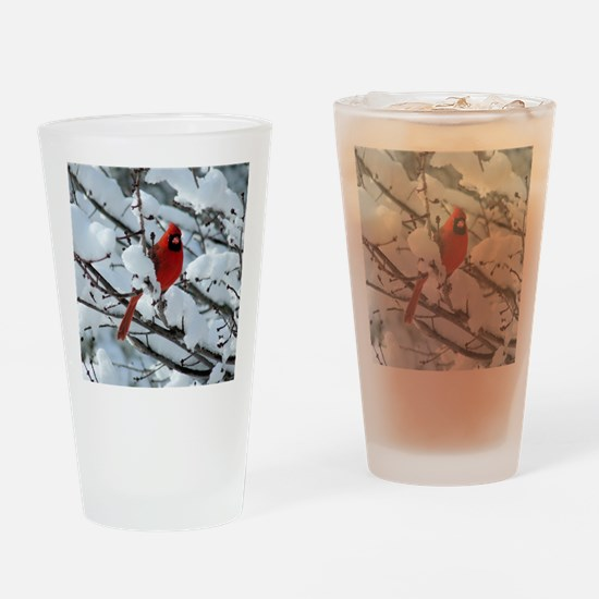 Snow Cardinal Drinking Glass