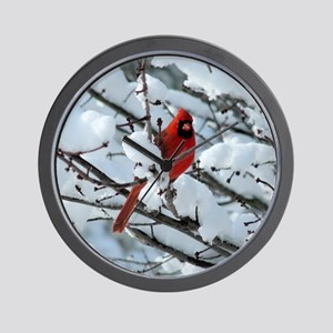 Snow Cardinal Wall Clock