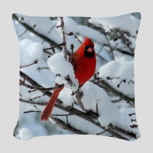 Snow Cardinal Woven Throw Pillow