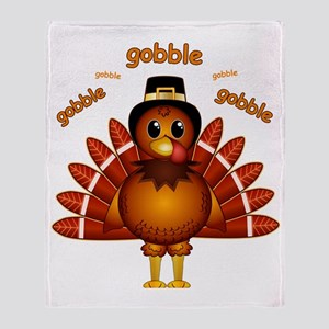 Gobble Gobble Turkey Throw Blanket