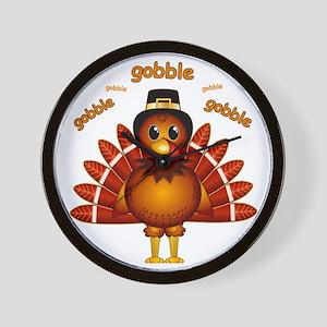 Gobble Gobble Turkey Wall Clock