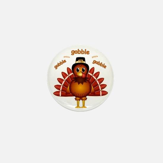 Gobble Gobble Turkey Mini Button