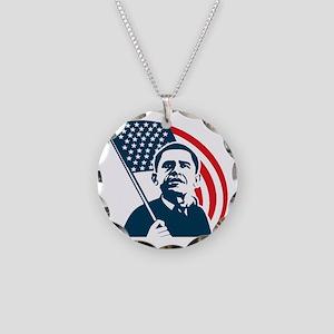 Obama Forward Flag Necklace Circle Charm
