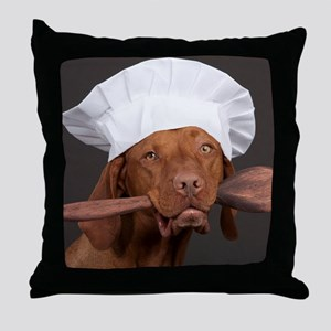 vizsla chef Throw Pillow