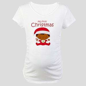 Black Boy 1st Christmas Maternity T-Shirt