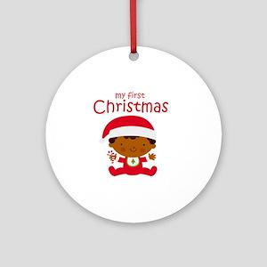 Black Boy 1st Christmas Round Ornament