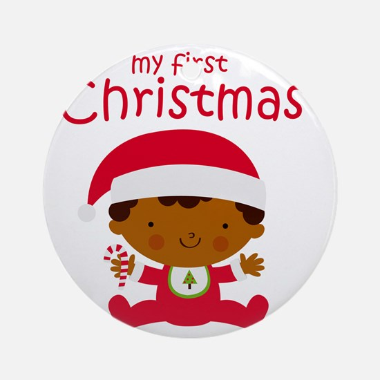 Black Boy 1st Christmas Round Ornament