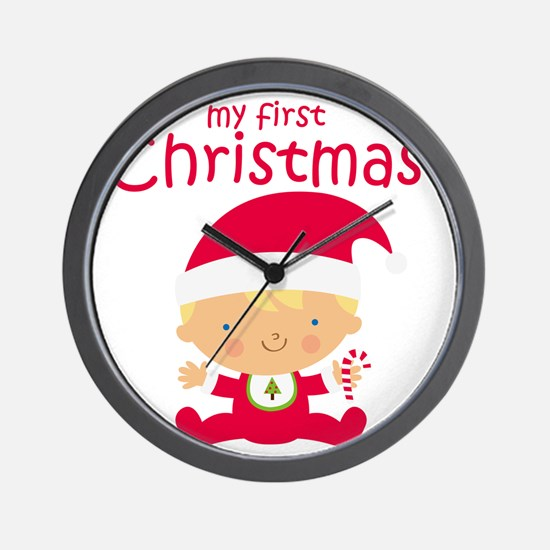 Blonde Boy 1st Christmas Wall Clock