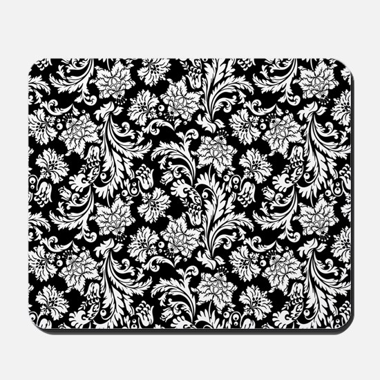 White on Black Damask Mousepad