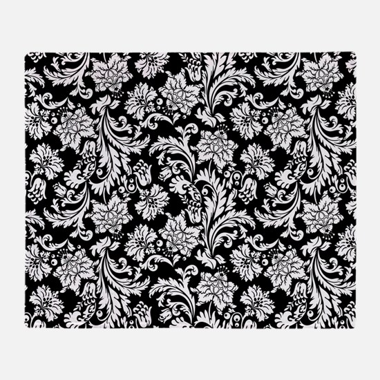 White on Black Damask Throw Blanket