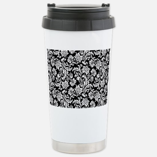 White on Black Damask Stainless Steel Travel Mug
