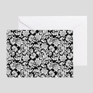 White on Black Damask Greeting Card